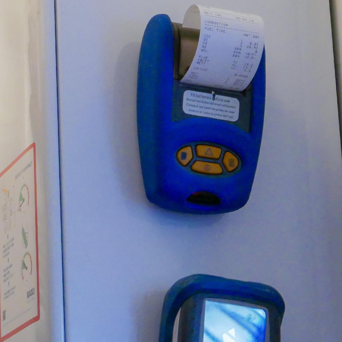 emissions testing boiler printout